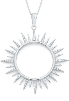NEW-Sterling-Silver-CZ-Celestial-Sunburst-Pendant on sale