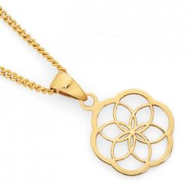 9ct-Gold-Floral-Mandala-Pendant on sale