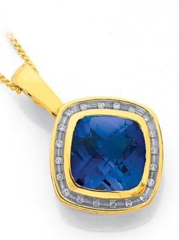 9ct-Gold-Created-Sapphire-Diamond-Cushion-Cut-Enhancer-Pendant on sale