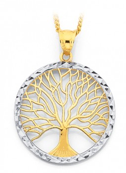 9ct-Gold-Two-Tone-Tree-of-Life-Pendant on sale