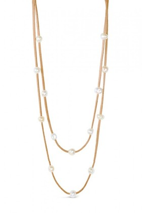 Real-Pearl-And-Suede-Multi-Necklace-And-Bracelet on sale