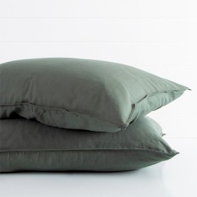 Washed-Linen-Look-Dark-Green-Standard-Pillowcase-Pair-by-Essentials on sale