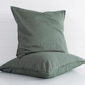 Washed-Linen-Look-Dark-Green-European-Pillowcase-by-Essentials on sale