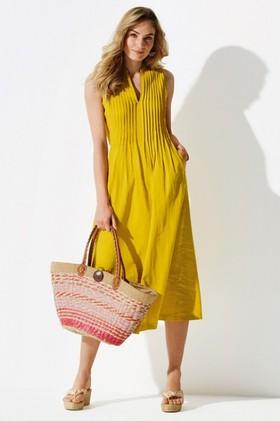 Kaleidoscope-Linen-Blend-Pintuck-Dress on sale