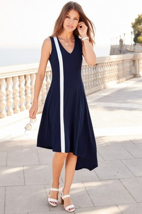 European-Collection-Asymmetric-Jersey-Dress on sale