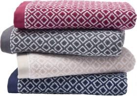 House-Home-Geometric-Jacquard-Cotton-Towels on sale