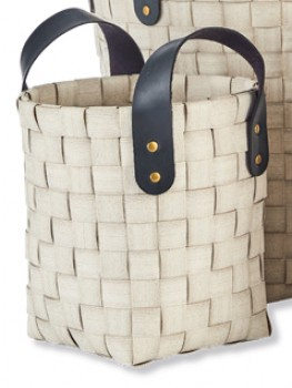 White-Woven-Small-Basket-with-PU-Handle on sale