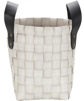 White-Woven-Large-Basket-with-PU-Handle on sale