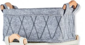 Stitched-Felt-Basket-Grey on sale