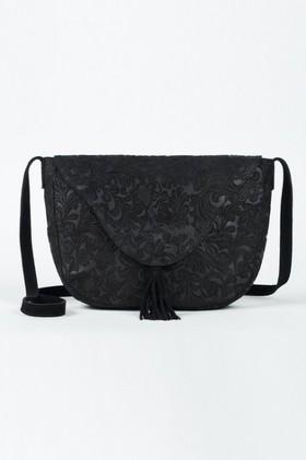 Black-Textured-Saddle-Bag on sale