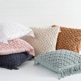 Macrame-Square-Cushion-by-Habitat on sale