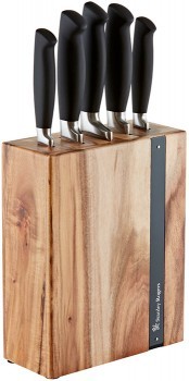Stanley-Rogers-6pc-Black-Flash-Knife-Block on sale