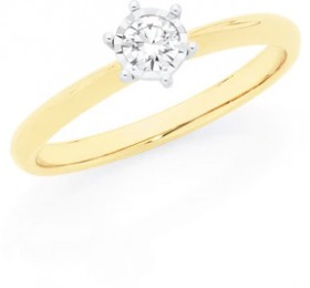 9ct-Gold-Diamond-Solitaire-Ring on sale