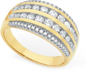 9ct-Gold-Diamond-Wide-Dress-Band-Ring on sale