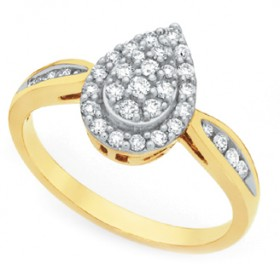9ct-Gold-Diamond-Pear-Shape-Cluster-Dress-Ring on sale