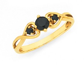 9ct-Gold-Sapphire-Trilogy-Heart-Ring on sale