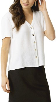 me-Button-Front-Blouse-White on sale