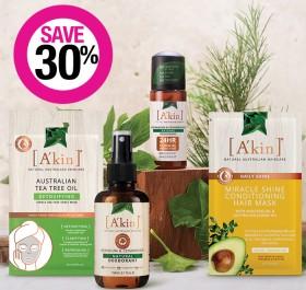Save-30-on-Akin-Skincare-Haircare-Ranges on sale
