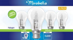 Mirabella-4Pk-42W-Halogen-Globe on sale