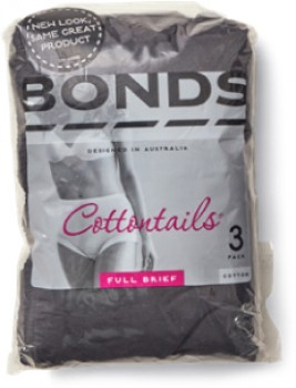 Bonds-Womens-3-Pack-Cottontails-Full-Brief-Black on sale