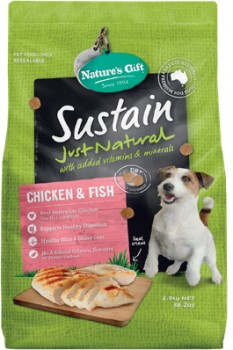 Natures-Gift-Sustain-Dog-Food-Chicken-Fish-2.5kg on sale