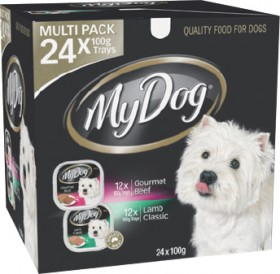 My-Dog-Tinned-Dog-Food-Multi-Pack-24-x-100g-Gourmet-Beef-Classic-Lamb on sale