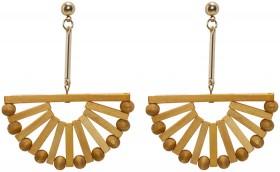 Womens-Wooden-Fan-Earrings on sale