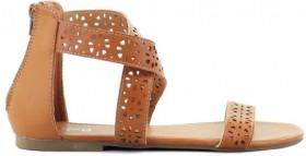 K-D-Girls-Strappy-Zip-Sandals-Tan on sale
