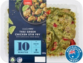 Coles-Made-Easy-Chicken-Stir-Fry-Thai-Green-with-Capsicum-Green-Beans-450g on sale