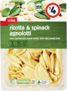 Coles-Ricotta-Spinach-Agnolotti-600g on sale