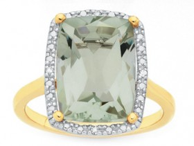 9ct-Gold-Diamond-Green-Amethyst-Ring on sale