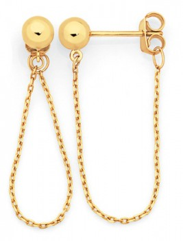 9ct-Gold-5mm-Ball-and-Chain-Loop-Stud-Earrings on sale