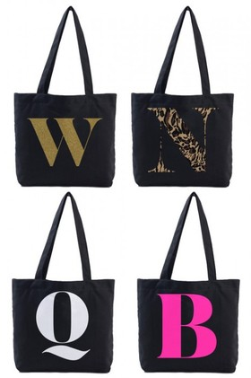 Personalised-Black-Canvas-Initial-Tote on sale