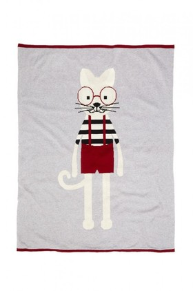 Charlie-Cat-Knitted-Baby-Blanket on sale