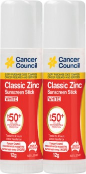 Cancer-Council-Classic-Zinc-Sunscreen-Stick-SPF50-12g-Range on sale