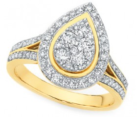 9ct-Gold-Diamond-Large-Pear-Shape-Cluster-Ring on sale