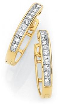 9ct-Gold-Diamond-Huggie-Hoop-Earrings on sale