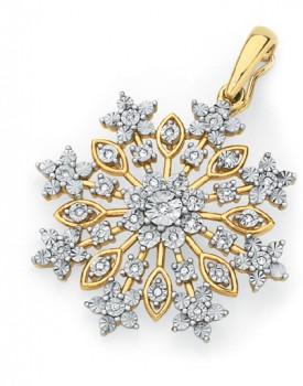 9ct-Gold-Diamond-Snowflake-Pendant on sale