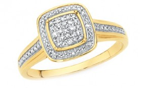 9ct-Gold-Diamond-Cushion-Shape-Shoulder-Set-Dress-Ring on sale