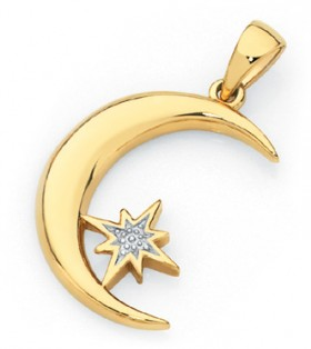 9ct-Gold-Two-Tone-Moon-Pendant on sale