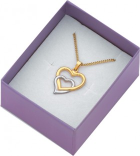 9ct-Gold-on-Silver-Two-Tone-Heart-Pendant on sale
