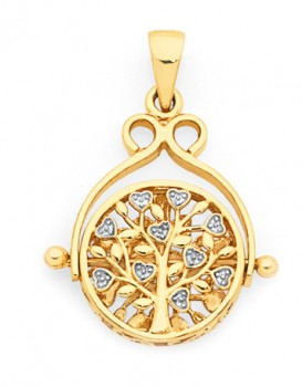9ct-Gold-Two-Tone-Tree-of-Life-Spinner-Disc-Pendant on sale