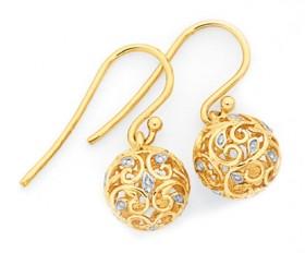 9ct-Gold-Two-Tone-Filigree-Ball-Drop-Earrings on sale