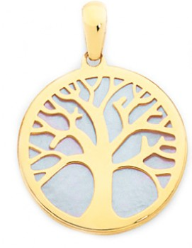 9ct-Gold-White-Mother-of-Pearl-Tree-of-Life-Pendant on sale