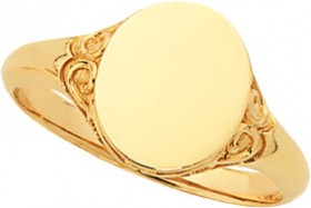 9ct-Gold-Filigree-Oval-Signet-Ring on sale