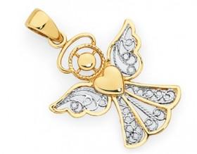 9ct-Gold-Two-Tone-Filigree-Angel-Pendant on sale