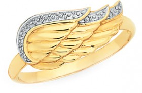 9ct-Gold-Two-Tone-Angel-Wing-Ring on sale