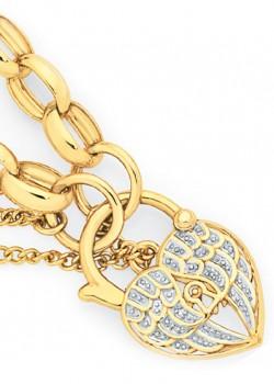 9ct-Gold-19cm-Solid-Oval-Belcher-Diamond-Angel-Wings-Padlock-Bracelet on sale
