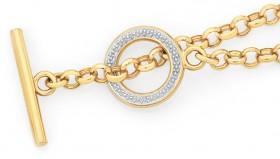 9ct-Gold-Two-Tone-19cm-Solid-Belcher-T-Bar-Fob-Bracelet on sale