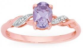 9ct-Rose-Gold-Pink-Amethyst-Diamond-Dress-Ring on sale